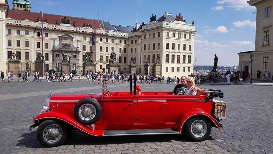 Vintage car in front of Prague