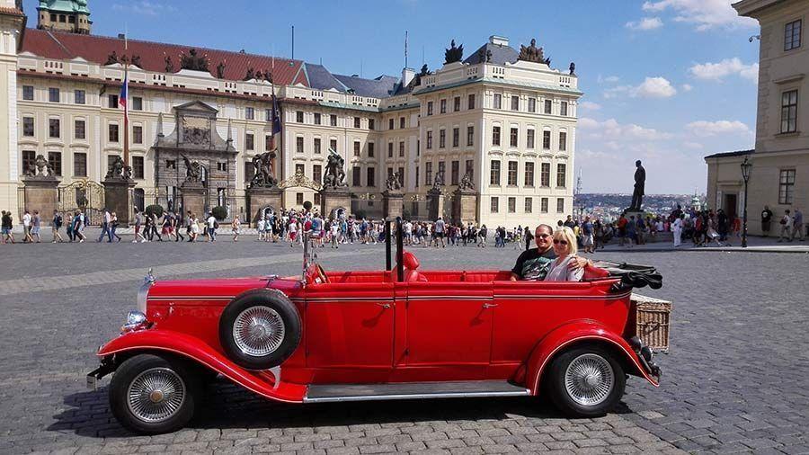 Vintage car in front of Prague