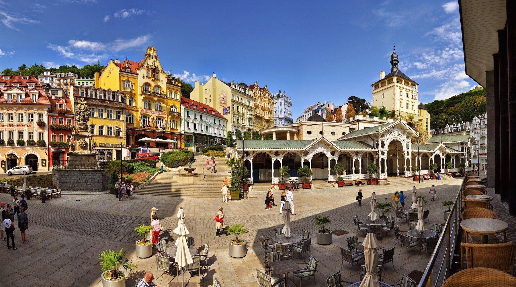 Karlovy Vary city center, spa resort in Czech Republic