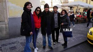 Indian family in Prague on a guided tour
