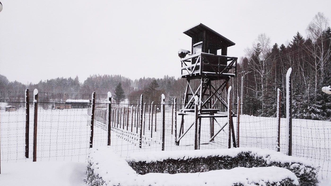 Watch tower around the Communist labor camp