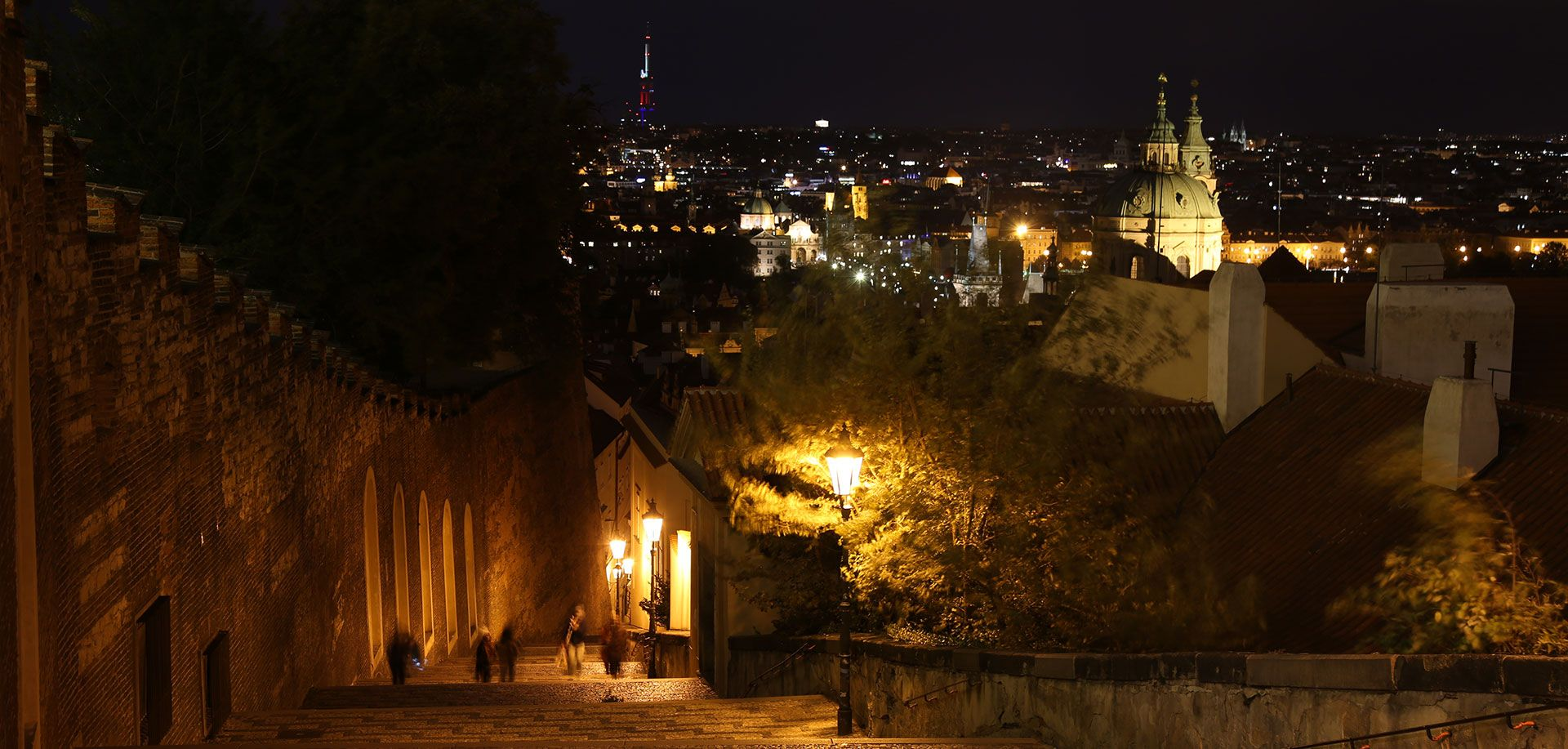 Night stairs by Prague castle, evening tour with Supreme Prague