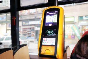 Public transportation in Prague - tram contactless machine