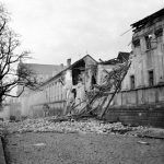 Damaged building on Charles Square, 1945