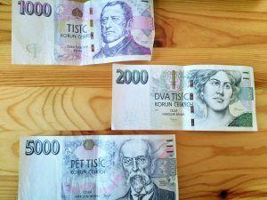 Czech money: banknotes 1000, 2000, 5000