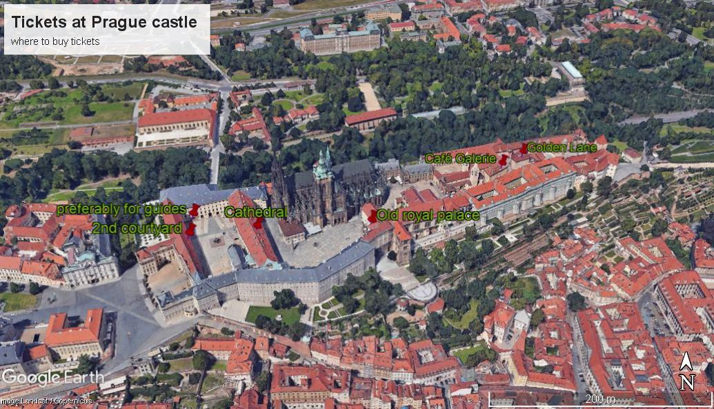 Cashiers to buy tickets to Prague castle. Avoid lines at Prague castle