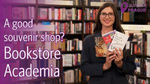 Cover photo: A good souvenir shop? bookstore Academia, buy Prague souvenirs,, Lenka holding books by Czech authors