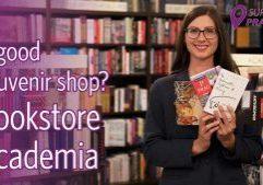 Cover photo: A good souvenir shop? bookstore Academia, buy Prague souvenirs,, Lenka holding books by Czech authors